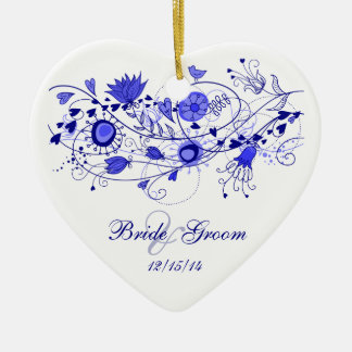 Whimsical Navy Blue - Heart Ornament Wedding Favor