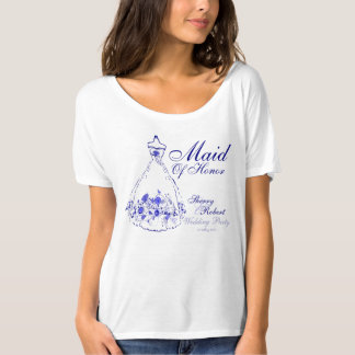 Whimsical Navy Blue Maid-Of-Honor - T-Shirt 1