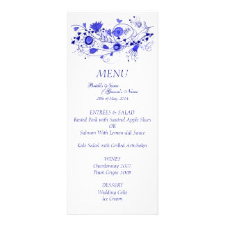 Whimsical Navy Blue Wedding Menu Card Rack Cards