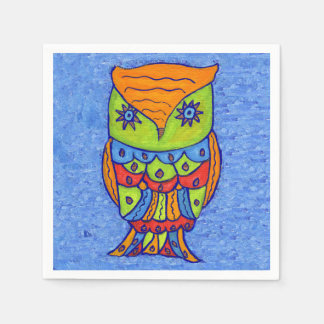 Whimsical Neon Colors Abstract Owl Star Eyes Napkin