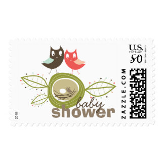 Whimsical Nesting Owls Family Baby Shower Stamps