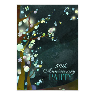 Whimsical Night 50th Anniversary Party Card