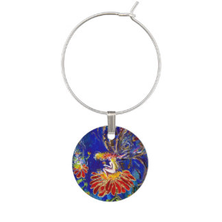 WHIMSICAL NIGHT FAIRY IN RED BLUE AND GOLD WINE CHARM