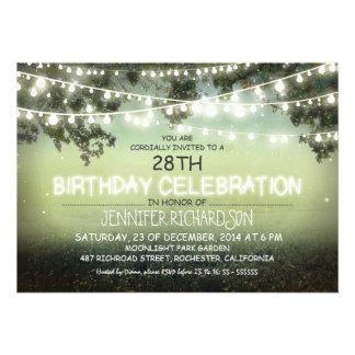 whimsical night garden lights birthday invites