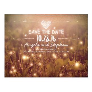 whimsical night lights save the date blush postcard