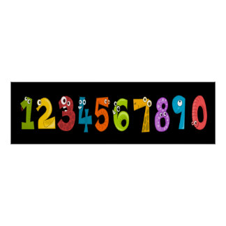 Whimsical Numbers Poster