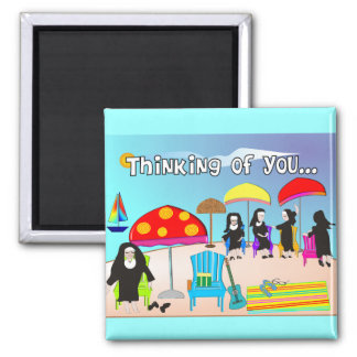 Whimsical Nun Art Gifts & Cards 2 Inch Square Magnet