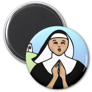Whimsical Nun 2 Inch Round Magnet