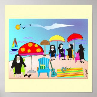 "Whimsical Nuns ""At The Beach"" Art Poster"