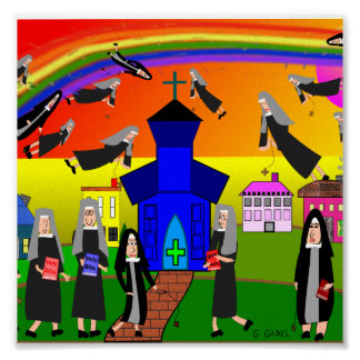 "Whimsical Nuns Canvas Art ""Flying Nuns"" Poster"