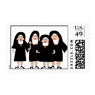 Whimsical Nuns in Black Habits Postage