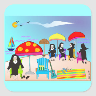 Whimsical Nuns Square Art Stickers
