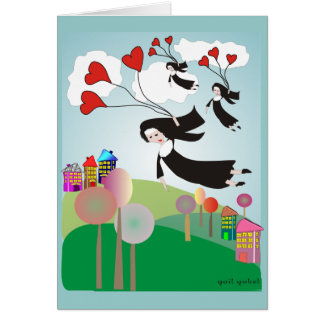 Whimsical Nuns With Balloons Notecards Card
