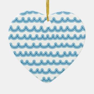 Whimsical Ocean Waves Ceramic Ornament