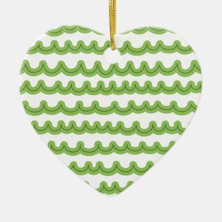 Whimsical Ocean Waves Green Ceramic Ornament
