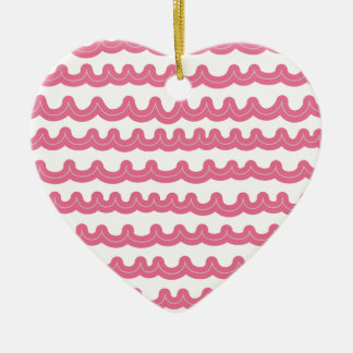 Whimsical Ocean Waves Pink Ceramic Ornament