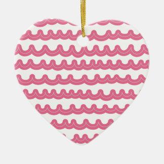 Whimsical Ocean Waves Pink Ceramic Ornament