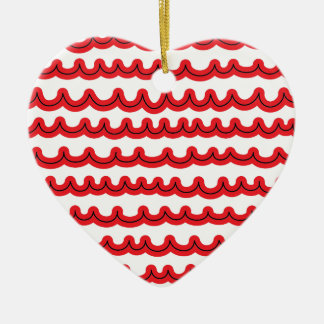 Whimsical Ocean Waves Red Ceramic Ornament