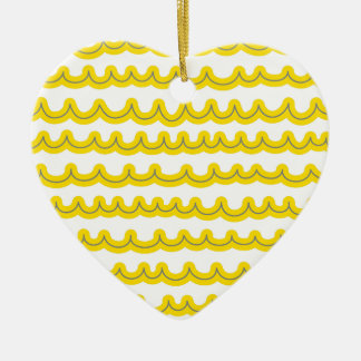 Whimsical Ocean Waves Yellow Ceramic Ornament