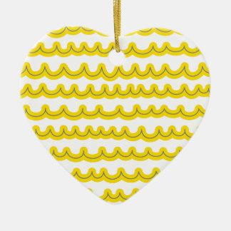 Whimsical Ocean Waves Yellow Ceramic Ornament