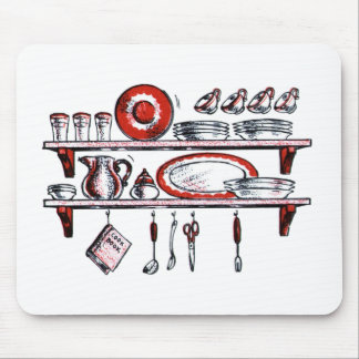 Whimsical Old Fashioned Kitchen Art Mouse Pads