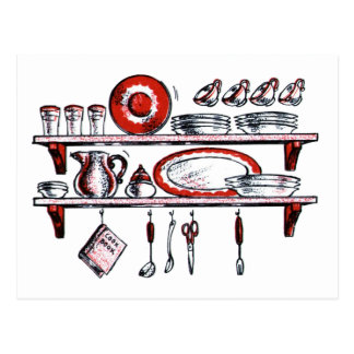 Whimsical Old Fashioned Kitchen Art Postcard