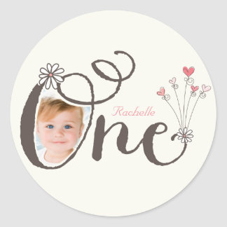 Whimsical One Girl Thank You 1st Birthday Sticker