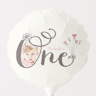 Whimsical One Pink Baby Girl 1st Birthday Photo Balloon