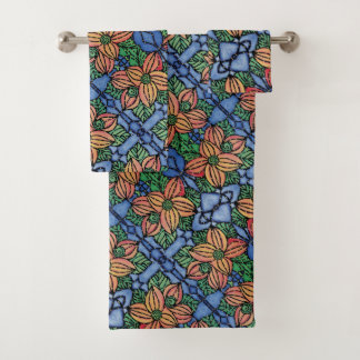 Whimsical Orange And Blue Floral Pattern Bath Towel Set