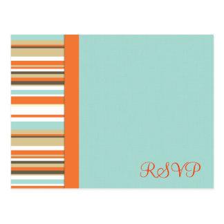 Whimsical orange and blue stripe RSVP Postcard