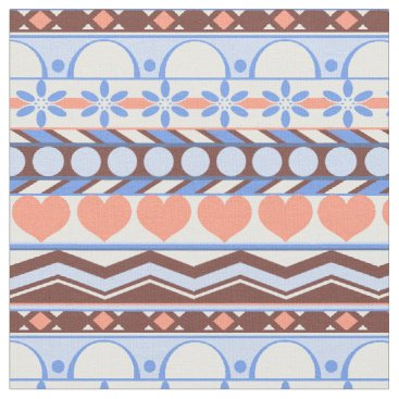 Aztec Themed Whimsical Orange and blue striped aztec pattern Fabric