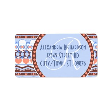 Aztec Themed Whimsical orange and blue striped aztec pattern label