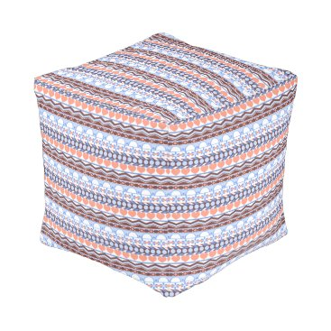 Aztec Themed Whimsical Orange and blue striped aztec pattern Pouf