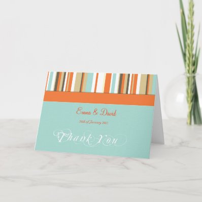 Whimsical Orange and Blue striped Thank you card