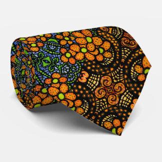 Whimsical Orange Floral Pattern Tie