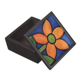 Whimsical Orange Flower Jewelry Box