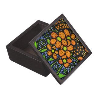 Whimsical Orange Flowers Jewelry Box