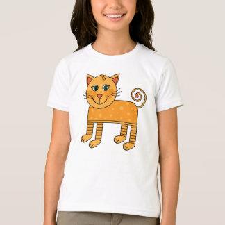 Whimsical Orange Polka Dot Cat T-Shirt