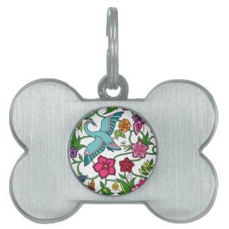 Whimsical Original Bohemian Art butterflies flower Pet Tag