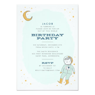 Whimsical Outer Space Birthday Party Invitation