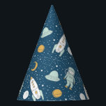 """Whimsical Outer Space Patterned Party Hats<br><div class=""""desc"""">This outer space patterned party hat features astronauts,  rocket ships,  space ships,  planets,  stars and more. This party hat is perfect for gender neutral birthdays!</div>"""