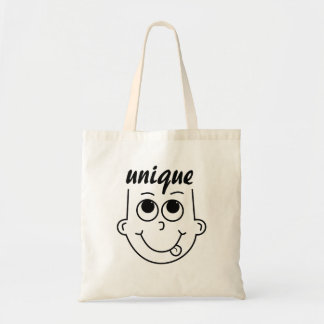 Whimsical Outline of Boy with Tongue Sticking Out Tote Bag
