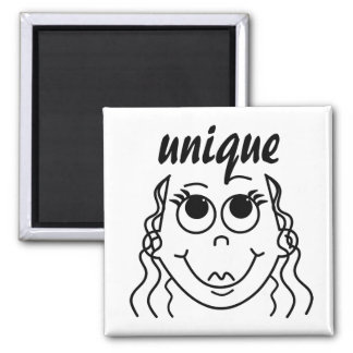 Whimsical Outline of Girl with Large Eyes Magnet