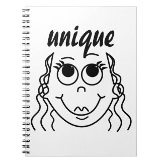 Whimsical Outline of Smiling Girl Notebook