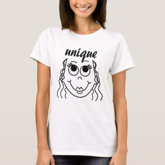 Whimsical Outline of Smiling Girl T-Shirt