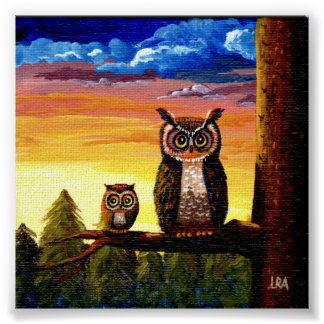Whimsical Owl Art Forest Moon Creationarts Poster