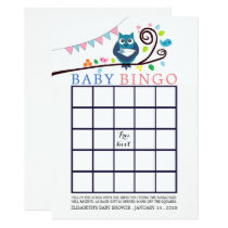 Whimsical Owl Baby Shower Bingo Card