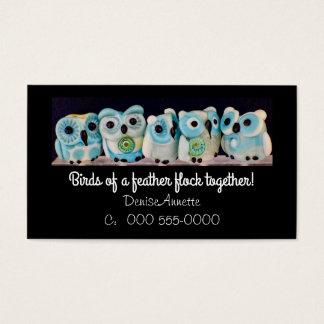 whimsical owl bead business card