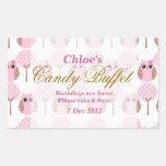 Whimsical Owl Birthday Candy Buffet Sticker