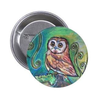 Whimsical Owl Button